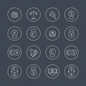 Currency forex trading money investment line icons in circles vector illustration