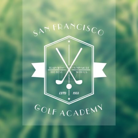 Golf Academy vintage white logo, emblem with golf clubs