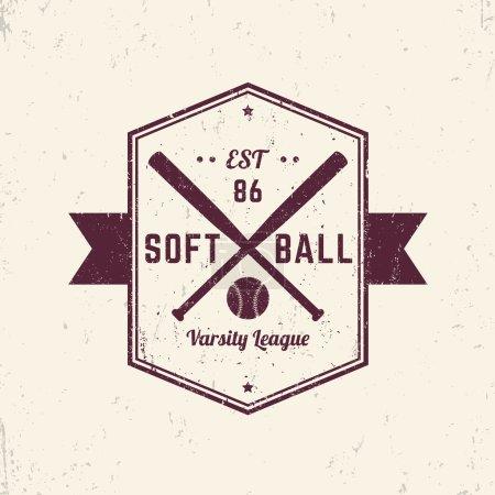Softball vintage grunge emblem, logo, sign, t-shirt design, print