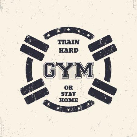 Round grunge gym t-shirt design, print with barbells