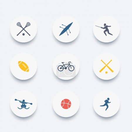 College sports, activities, coloured icons set