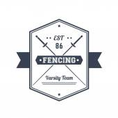 Fencing team vintage emblem logo badge sign with crossed foils over white