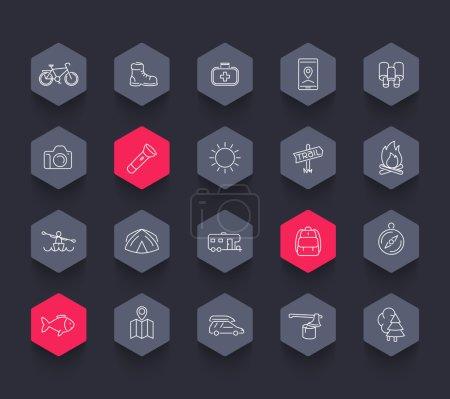 Hiking, camping, trekking, adventure, trip line hexagon icons