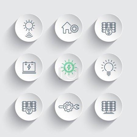 Illustration pour Énergie solaire, énergie solaire, panneaux, icônes de ligne sur des formes 3D rondes, illustration vectorielle - image libre de droit