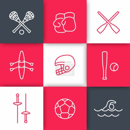 sports and games linear icons set on squares