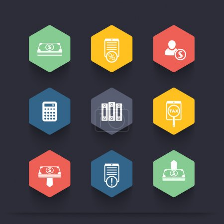 Bookkeeping, finance, payroll, accountant color hexagon icons, vector illustration
