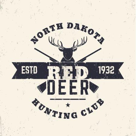 Deer Hunting Club Vintage logo, crossed rifles, guns, with grunge texture, vector illustration