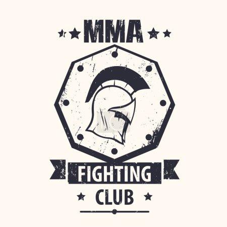 MMA Fighting Club grunge vintage logo, emblem with spartan helmet, vector illustration