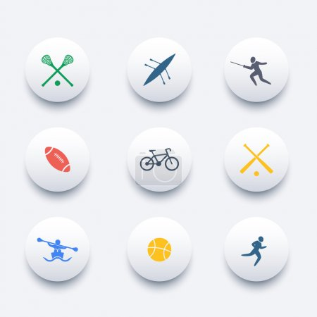 College sports, activities, round colored icons, vector illustration