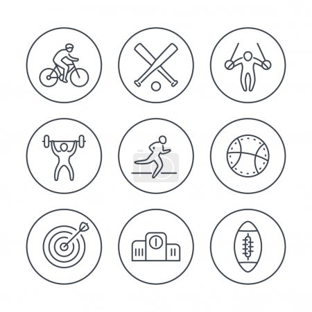 different kind of sports, line icons in circles, vector illustration