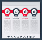 Staff HR employee development steps infographic elements icons timeline vector illustration eps10 easy to edit