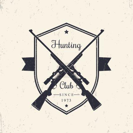 Hunting Club vintage emblem, logo, crossed hunting rifles, with grunge texture, vector illustration
