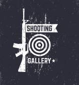 Shooting Gallery grunge logo sign with automatic rifle vector illustration