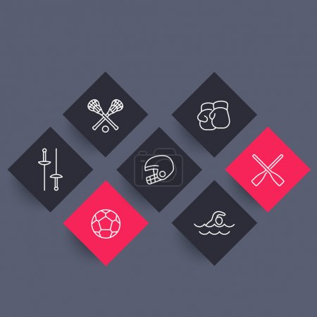 sports and games line rhombic icons, vector illustration