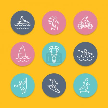 extreme outdoor activities line flat icons, vector illustration