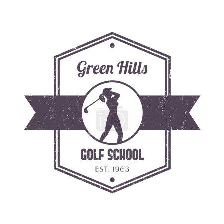 Golf school vintage logo, badge, with girl golfer, female golf player swinging golf club, vector illustration