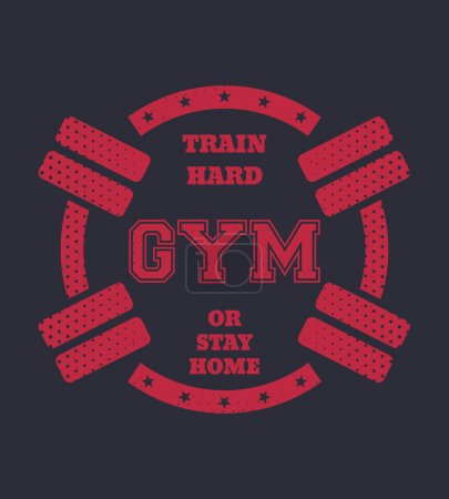 Round vintage gym t-shirt design with barbells