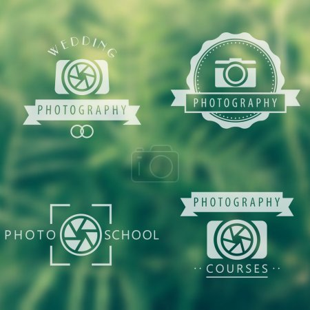 photography, courses, photo school, photographer logo, emblems, signs on blur background