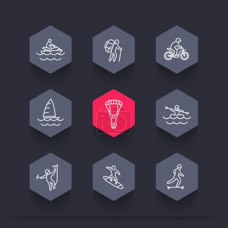 extreme outdoor activities line hexagon icons, vector illustration