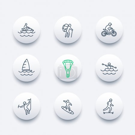 extreme outdoor activities, line round modern icons, vector illustration