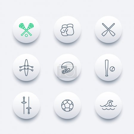 sports and games line round modern icons, vector illustration
