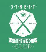 Street Fighting Club grunge emblem with crossed bats and knuckles on green vector illustration