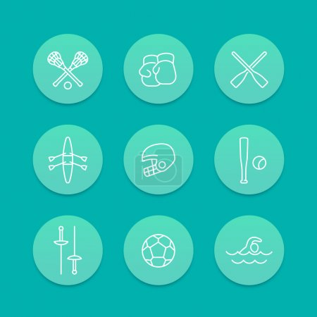 sports and games line icons, aquamarine set, vector illustration