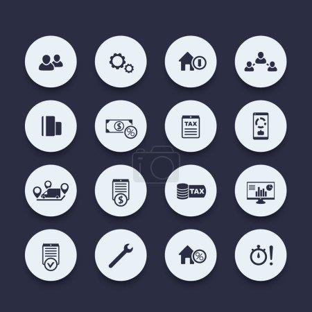 Illustration pour 16 finances, coûts, séries d'icônes fiscales, illustration vectorielle - image libre de droit