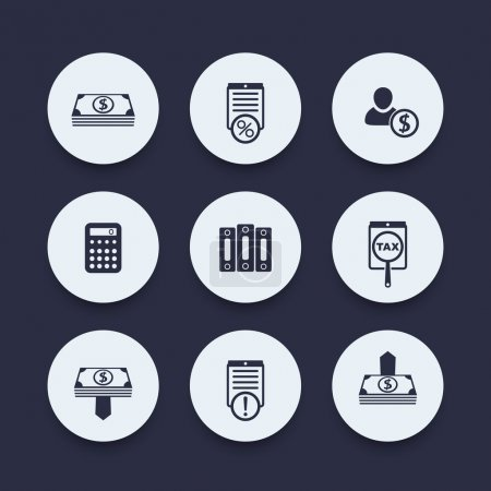Bookkeeping, finance, payroll round icons, vector illustration