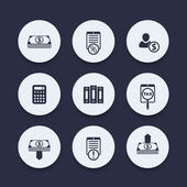 Bookkeeping finance payroll round icons vector illustration