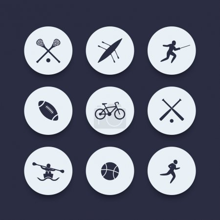 College sports round icons, vector illustration