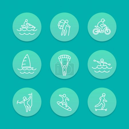 extreme outdoor activities line aquamarine icons, vector illustration