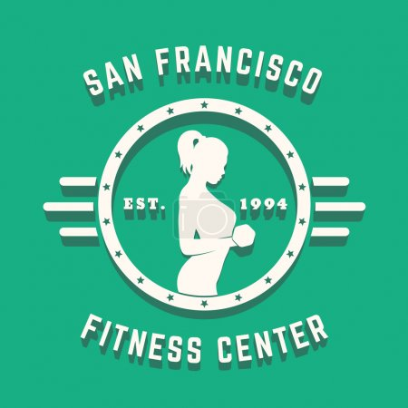 Round Vintage logo, emblem, sign with athletic exercising girl, vector illustration