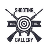 Shooting Gallery logo sign with crossed assault rifles vector illustration