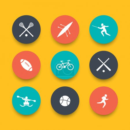 College sports, round varicolored icons, vector illustration