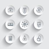 finance investments investment analysis line icons on round 3d shapes vector illustration