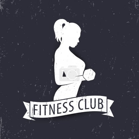 Fitness club logo template element with posing athletic girl, vector illustration