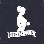 Fitness club logo template element with posing athletic girl vector illustration