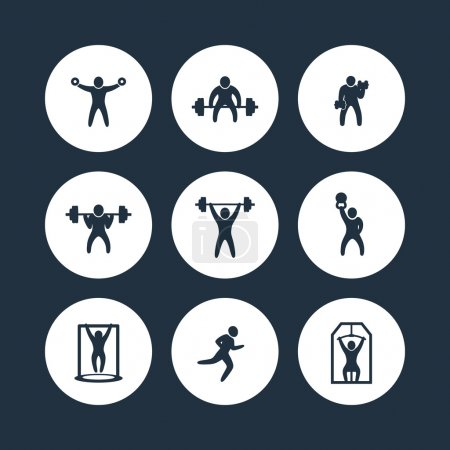 Gym, fitness exercises round icons, gym training, workout icon, vector illustration