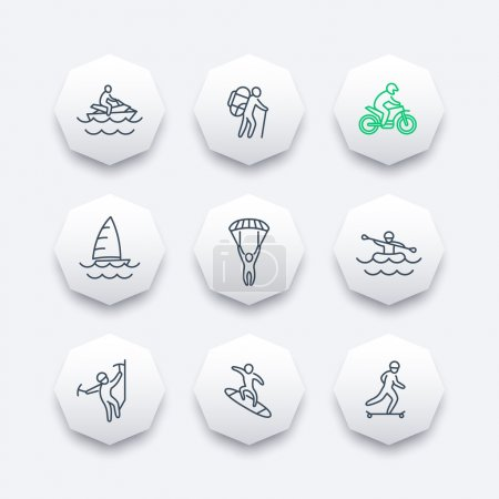 extreme outdoor activities line octagon icons, vector illustration