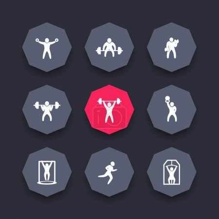 Gym, fitness exercises octagon icons set, strength training, workout icon, vector illustration