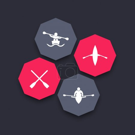 Rowing, kayak, canoe, rower, oar, boat octagon icons, vector illustration