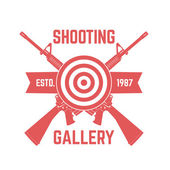 Shooting Gallery logo with crossed assault rifles isolated over white vector illustration