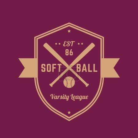 Softball vintage badge, logo template, t-shirt design, vector illustration