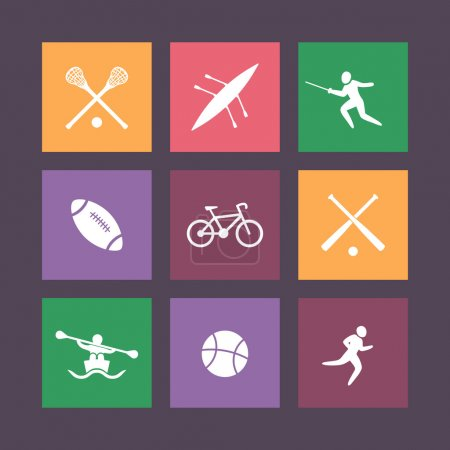 College sports square color icons, vector illustration