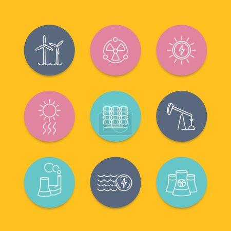 Illustration pour Puissance, production d'énergie, énergie, icônes rondes de couleur de ligne d'énergie nucléaire, illustration vectorielle - image libre de droit