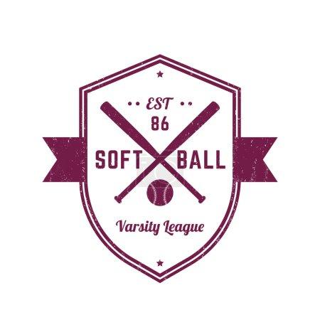 Softball vintage logo template, badge, t-shirt print, design, vector illustration