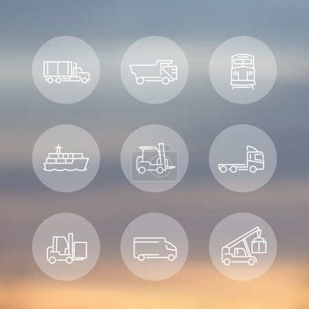 Transportation, line transparent round icons, forklift, cargo ship, freight train, kinds of transportation, mode of transport, vector