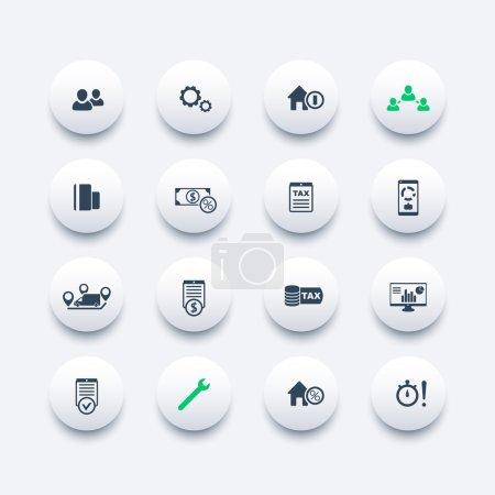 Illustration pour 16 finances, coûts, fiscalité ronde icônes modernes, analyse des entreprises, statistiques, illustration vectorielle - image libre de droit