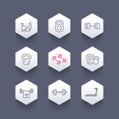 Gym equipment line icons on hexagon shapes workout training icon vector illustration